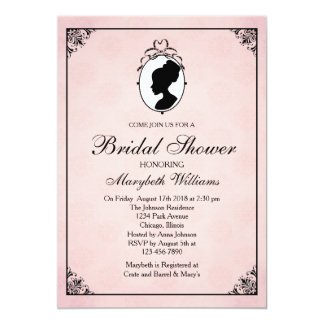 Victorian Style 60s Cameo Bridal Shower Invitation