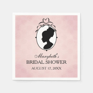 Victorian Style 60s Cameo Bridal Shower Paper Napkins