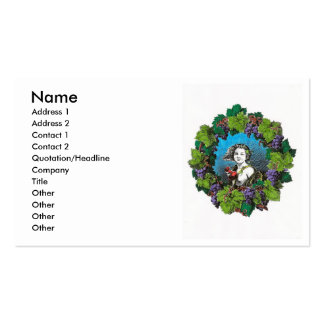 Victorian style boy in grape wreath business card templates