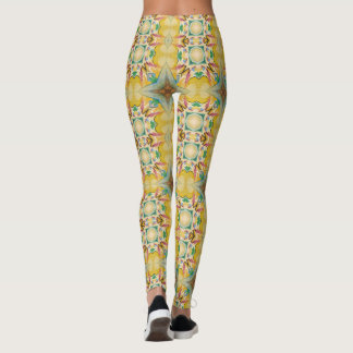 Victorian Style Leggings w/ Muted Yellow & Blue