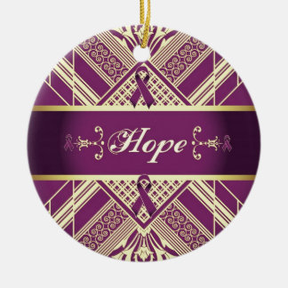 Victorian Style Pan Cancer Awareness Products. Ceramic Ornament