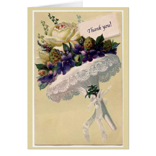Victorian Style Thank You Card with Nosegay