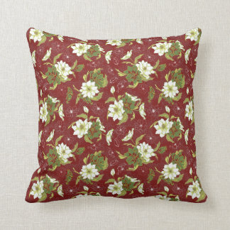 Victorian Style White Rose on Burgundy Pattern Throw Pillow