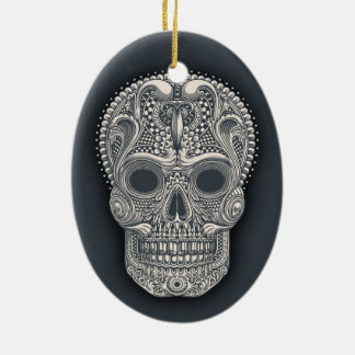 Victorian Sugar Skull Ceramic Ornament
