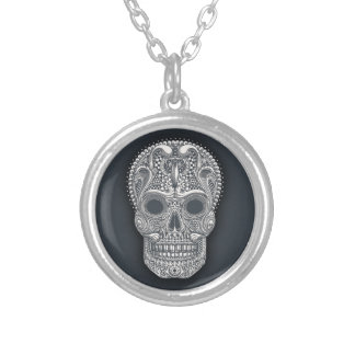 Victorian Sugar Skull Silver Plated Necklace