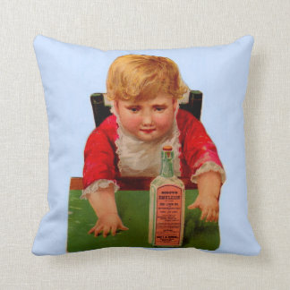 Victorian trade card: Scott's Emulsion Castor Oil Throw Pillow