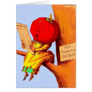 Victorian trade card tomato head woman