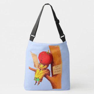 Victorian trade card tomato head woman crossbody bag