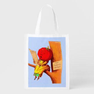 Victorian trade card tomato head woman reusable grocery bag