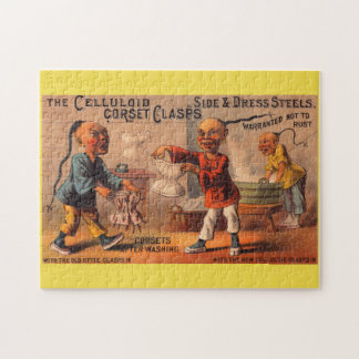 Victorian tradecard celluloid corset clasps jigsaw puzzle