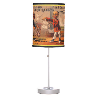 Victorian tradecard celluloid corset clasps table lamp