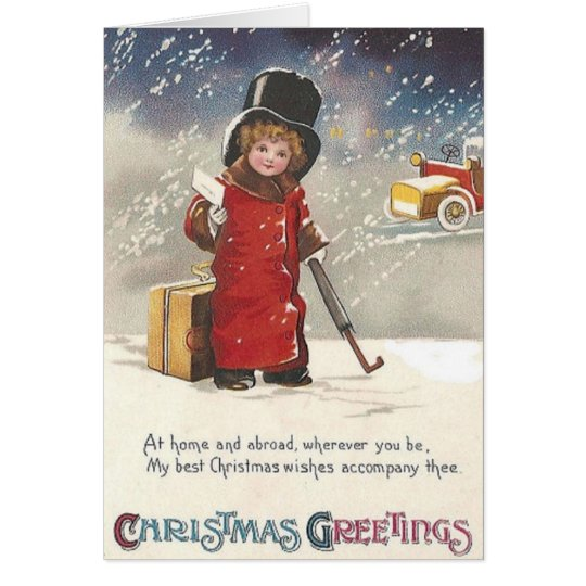 Victorian Traveller Christmas Greeting Card