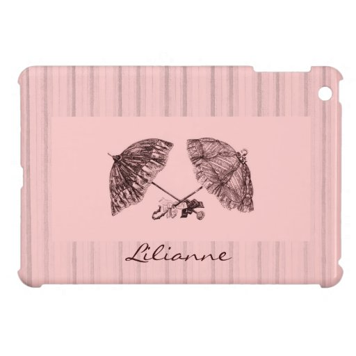 victorian umbrellas on pink stripe background cover for the iPad mini