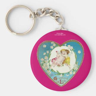Victorian Valentine A Greeting Of Love Basic Round Button Keychain