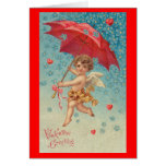 Victorian Valentine Cupid Hearts Umbrella Greeting Card