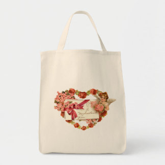 Victorian Valentine Grocery Tote Bag