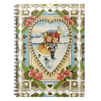 Victorian Valentine with Girl and Boy Skating Notebook
