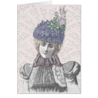 Victorian Valentine - Woman With Lilac Hat Card