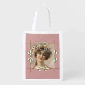 Victorian Vintage Art Nouveau Lady Monogram Reusable Grocery Bag