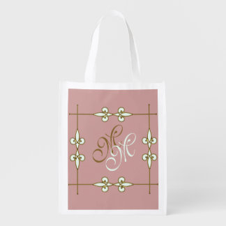 Victorian Vintage Art Nouveau Ornamental Monogram Reusable Grocery Bag