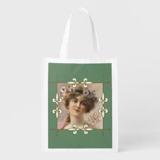 Victorian Vintage Art Nouveau Woman Monogram Reusable Grocery Bag