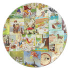 Victorian Vintage Childrens Nursery Rhymes Montage Plate