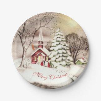 Victorian, Vintage Christmas, Landscape, Custom Paper Plate