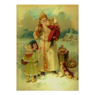 Victorian Vintage Christmas Santa Claus Kids Puppy Poster