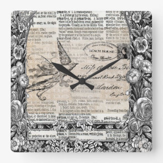Victorian Vintage Mixed Media Art Style Bird Clock