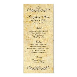 "Victorian Vintage Ornate Reception Menu 4"" X 9.25"" Invitation Card"