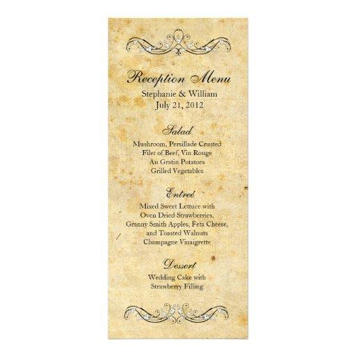 Victorian Vintage Ornate Reception Menu Personalized Invitation