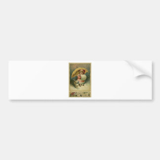 Victorian Vintage Retro Child and Cat Christmas Bumper Sticker