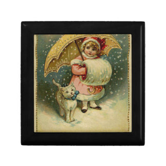 Victorian Vintage Retro Child and Cat Christmas Gift Box