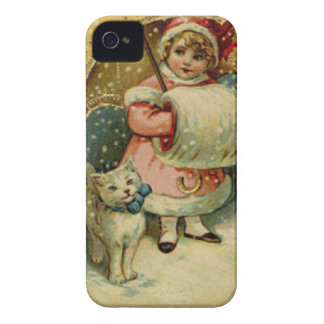 Victorian Vintage Retro Child and Cat Christmas iPhone 4 Covers