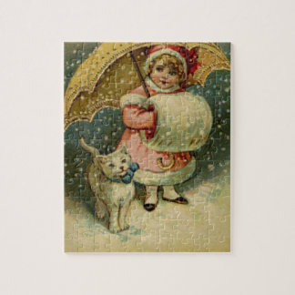 Victorian Vintage Retro Child and Cat Christmas Jigsaw Puzzle