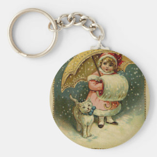 Victorian Vintage Retro Child and Cat Christmas Keychain