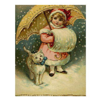 Victorian Vintage Retro Child and Cat Christmas Letterhead