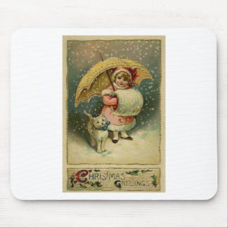 Victorian Vintage Retro Child and Cat Christmas Mouse Pad