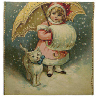 Victorian Vintage Retro Child and Cat Christmas Napkin