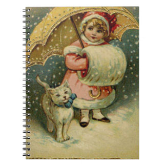 Victorian Vintage Retro Child and Cat Christmas Notebooks