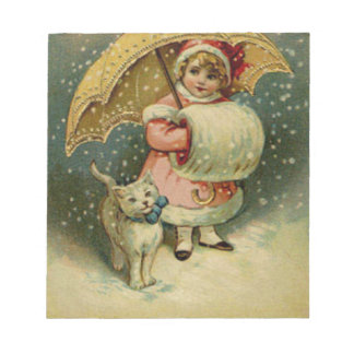 Victorian Vintage Retro Child and Cat Christmas Notepad