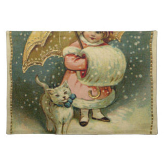 Victorian Vintage Retro Child and Cat Christmas Placemat
