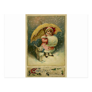 Victorian Vintage Retro Child and Cat Christmas Postcard