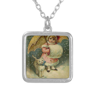 Victorian Vintage Retro Child and Cat Christmas Silver Plated Necklace