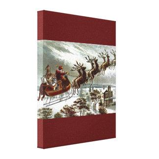Victorian Vintage Santa Claus Reindeer Sleigh Canvas Print
