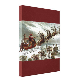 Victorian Vintage Santa Claus Reindeer Sleigh Gallery Wrapped Canvas