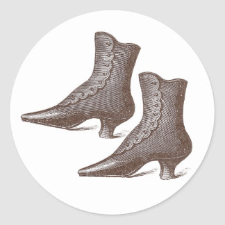 Victorian Vintage Snap Up Ankle Boots - Wonderful! Classic Round Sticker