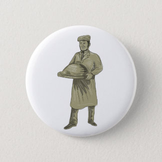 Victorian Waiter Serving Food Platter Drawing 2 Inch Round Button