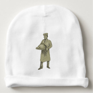 Victorian Waiter Serving Food Platter Drawing Baby Beanie