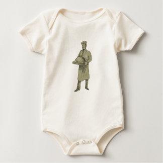 Victorian Waiter Serving Food Platter Drawing Baby Bodysuit